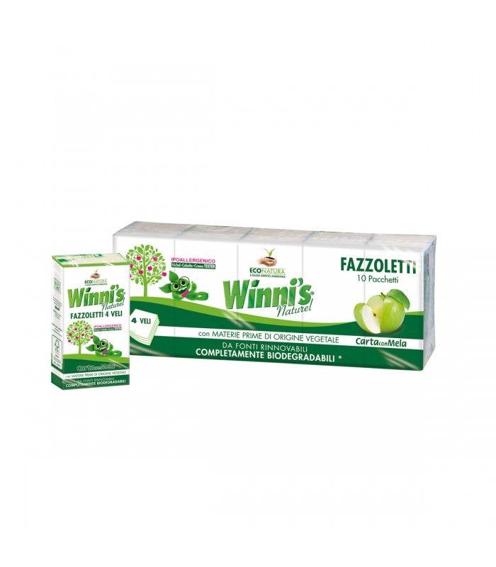 Hypoalergiczne chusteczki higieniczne, 4-warstwowe, opakowanie zawiera 10 paczek chusteczek, Winni's. W 100% biodegradowalne. Dzięki użyciu odpadów z przerobu jabłek, mają delikatny, jabłkowy zapach.