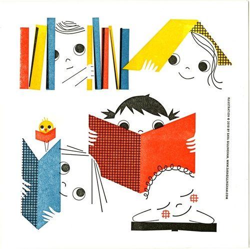 Children read at all hours / Los niños y niñas leen a todas horas (ilustración de Sara Gillingham)