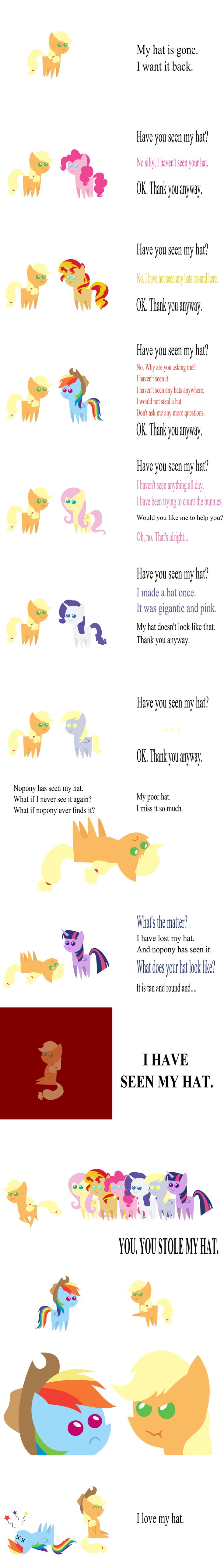 cute little Applejack: I want my hat back. by V0JELLY.deviantart.com on @deviantART poor RD...AJ why do you have to be so mean?!