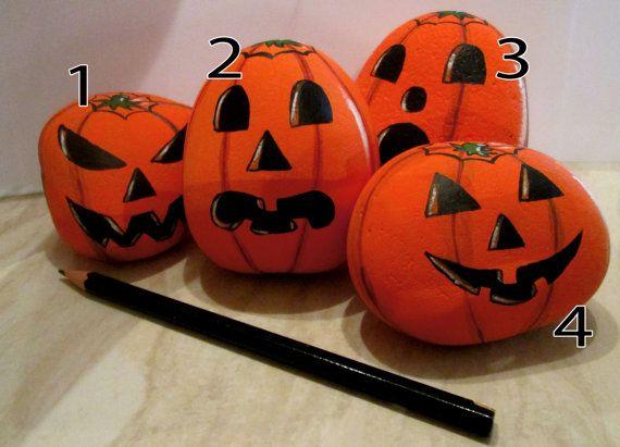 halloween pumpkin jack o lantern painted rockstone ornament decoration only one of each - Halloween Pumpkins Painted