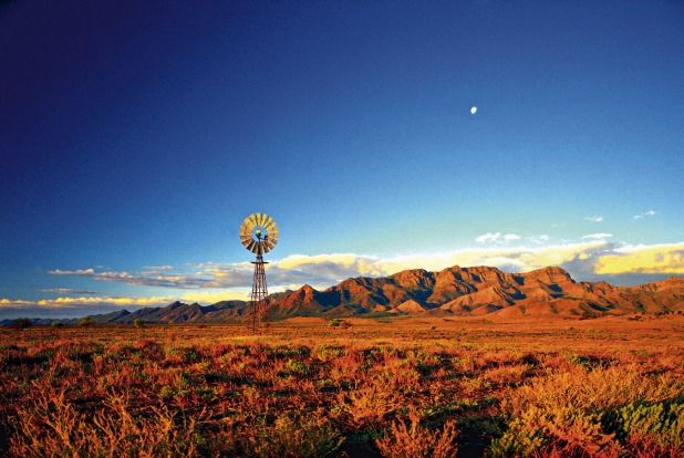 Windmill off Leigh Creek Road, between Leigh Creek and Hawker, Flinders Ranges, South Australia.Photo: SATC