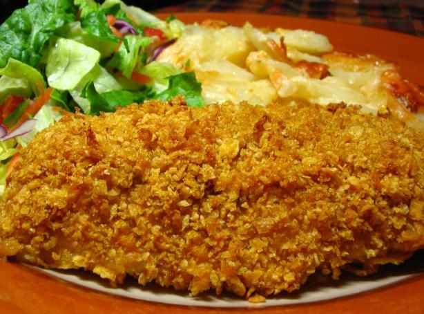 Cornflake Crusted Chicken. Made this for my boys last night and they loved it! I cut the chicken breasts into strips so it was more fun for them to eat. And since I didn't have poultry seasoning, I used Season All instead and it was great! I also mixed the seasoning in with the Cornflake and butter crust mixture. Will definitely be a regular meal!