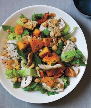 Chicken, Squash, and Chickpea Salad With Tahini Dressing: Dinner, Butternut Squash, Food Recipes, Chicken Salad, Tahini Dressing, Squashes, Chickpeas, Chickpea Salad