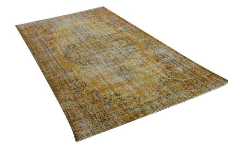 okergeel vintage vloerkleed 300cm x 178cm | Rozenkelim.nl - Groot assortiment kelim tapijten