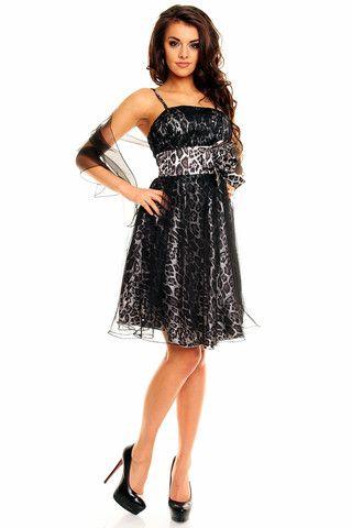 En fin fest kjole med Leopard mønstrer Sort – Gledelig .no