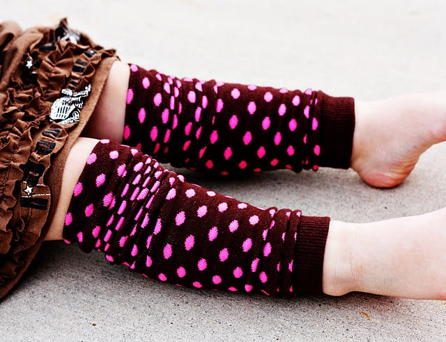 Leg warmers:  10 minute Tutorial on converting ladies knee highs into leg warmers for babies or toddlers.  (Think Baby Legs brand)