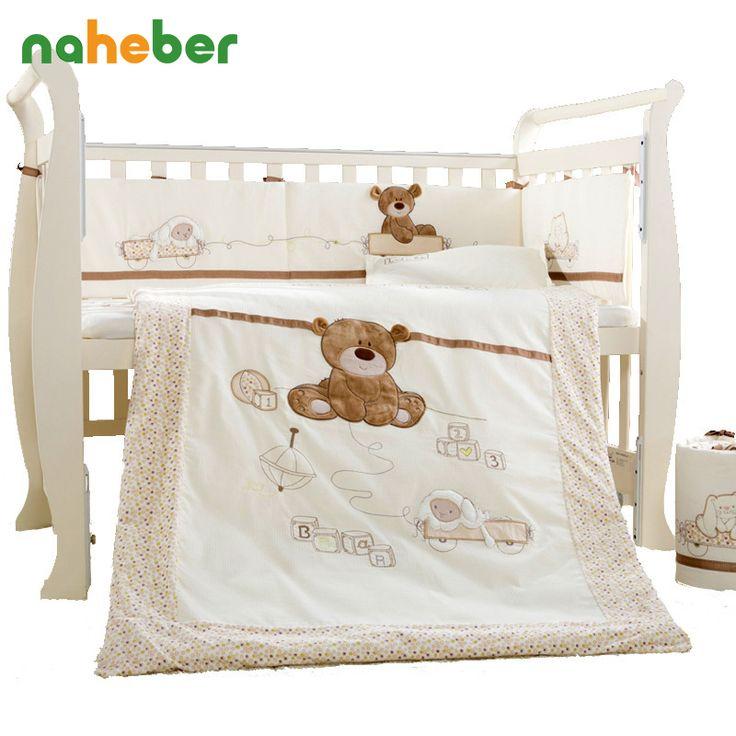 7 stücke baumwolle babybett bedding set neugeborenen cartoon tragen krippe bedding abnehmbare quilt kissen stoßfänger blatt kinderbett bettwäsche 4 größe
