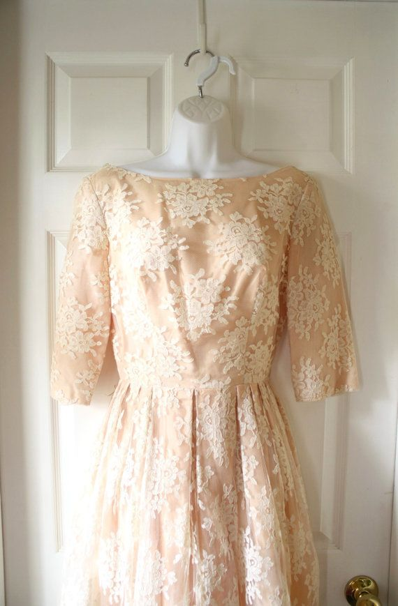 Vintage Prom Dress 1960's Peach Bridesmaid Gown  by 24byronroad, $65.00