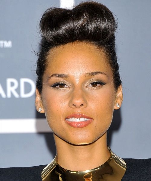 retro pin up updo hairstyle with 'rolled' fringe (tease and pin up the hair on the crown and a simple bun or pony on the back) - Alicia Keys