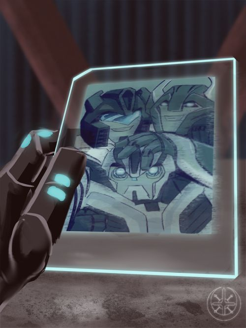 "Sideswipe: ""Hey – is that a picture of Jazz?"" Bumblebee: ""Yeah, he"