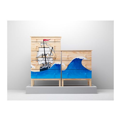 Look how someone painted the chest you want to buy - so cool!     TARVA Chest with 5 drawers  - IKEA