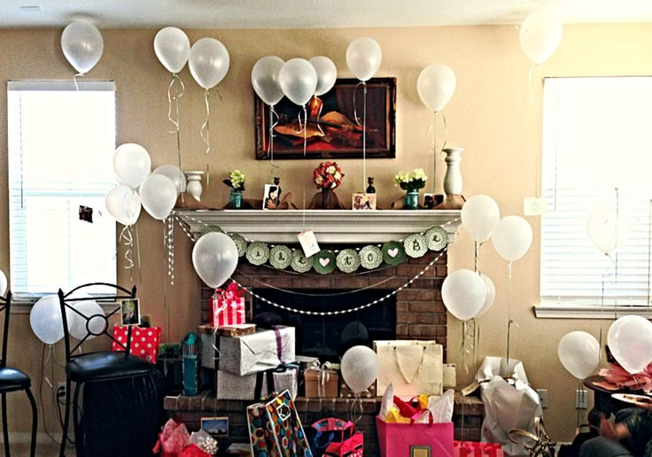 DIY Bridal Shower Decor - balloons with attached bridal couple pictures