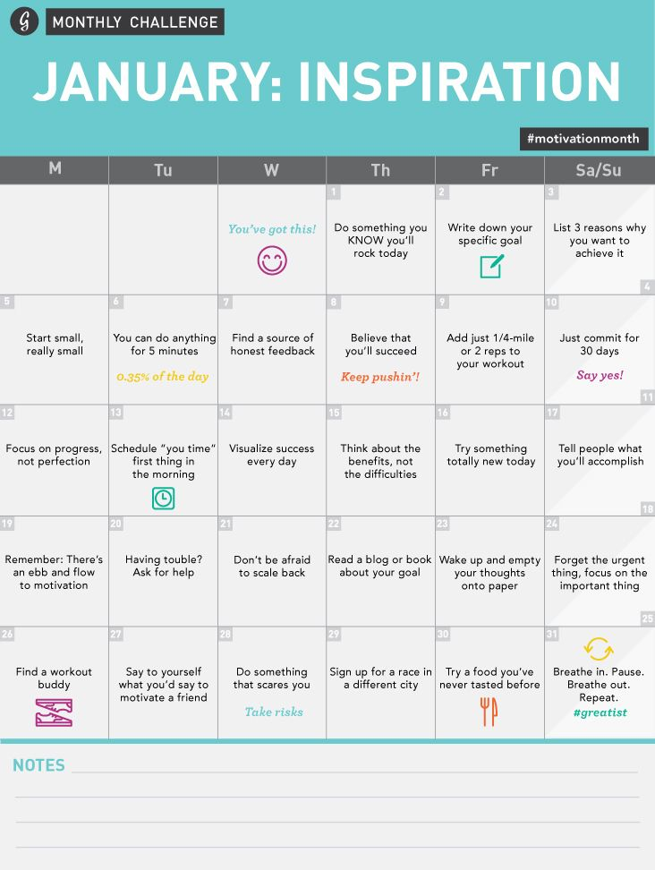 Greatist Monthly Challenge-- January Inspiration Challenge Calendar #motivationmonth