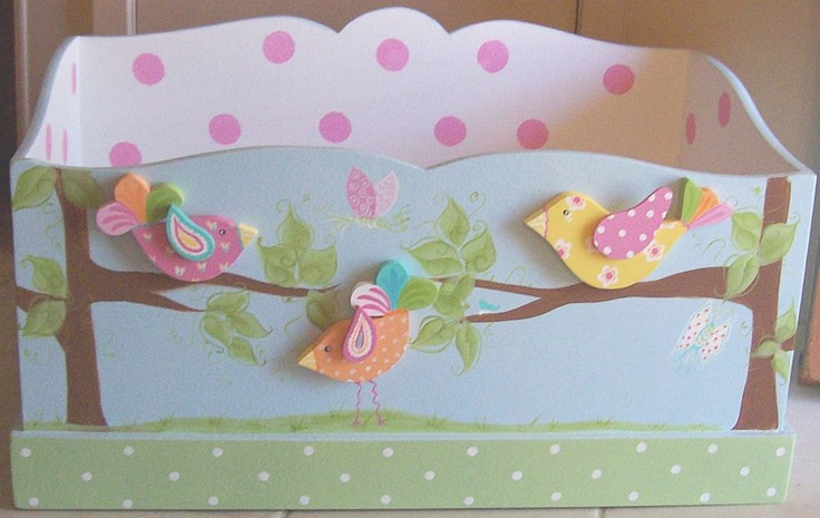 BIRD DECOR Toy Chest Painted Birds Toy Box. $125.00, via Etsy.