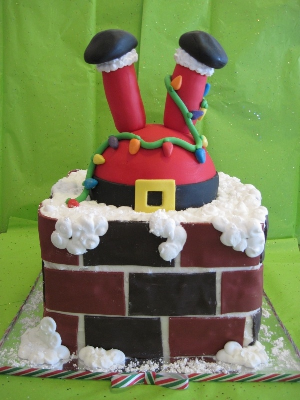 1000 images about santa cakes cupcakes and pops on Santa stuck in chimney cake
