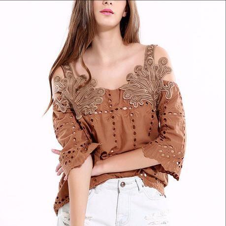 Cotton Embroidery Blouse/Off Shoulder Strap Women Tops | EzireOnline