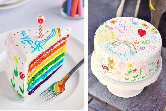 Een regenboog taart met tekening van de jarige Jet of Job! - Sweetapolita