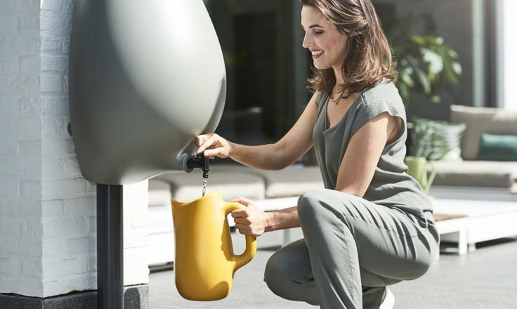 Traditional rain barrels are often clunky eyesores, which is why Studio Bas van der Veer designed a beautiful modern alternative that we love. Meet Raindrop, a stylish drop-shaped rain barrel with a built-in watering can. The award-winning design was recently unveiled during the three-day spoga gafa 2017 fair in Cologne and will be ready for sale by 2018.