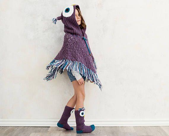 Crochet Pattern for Owl Poncho and Crochet Socks -…