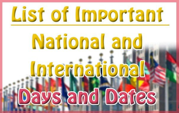 List of Important National and International days and dates- Static GK
