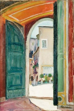 Peinture Algérie - Place ensoleillée, Algérie par Augustin Ferrando