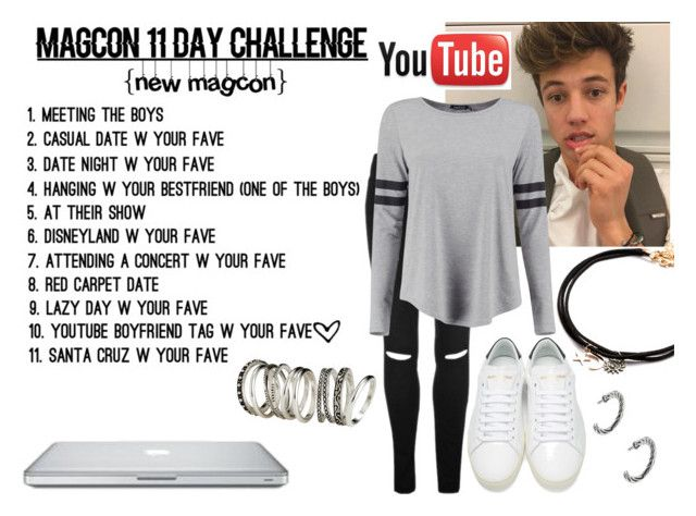 """Magcon 11day challenge: YouTube boyfriend tag w/ Cameron Dallas"" by hola-hi ❤ liked on Polyvore featuring Yves Saint Laurent, Boohoo, H&M, youtube, challenge, boyfriendtag and CameronDallas"