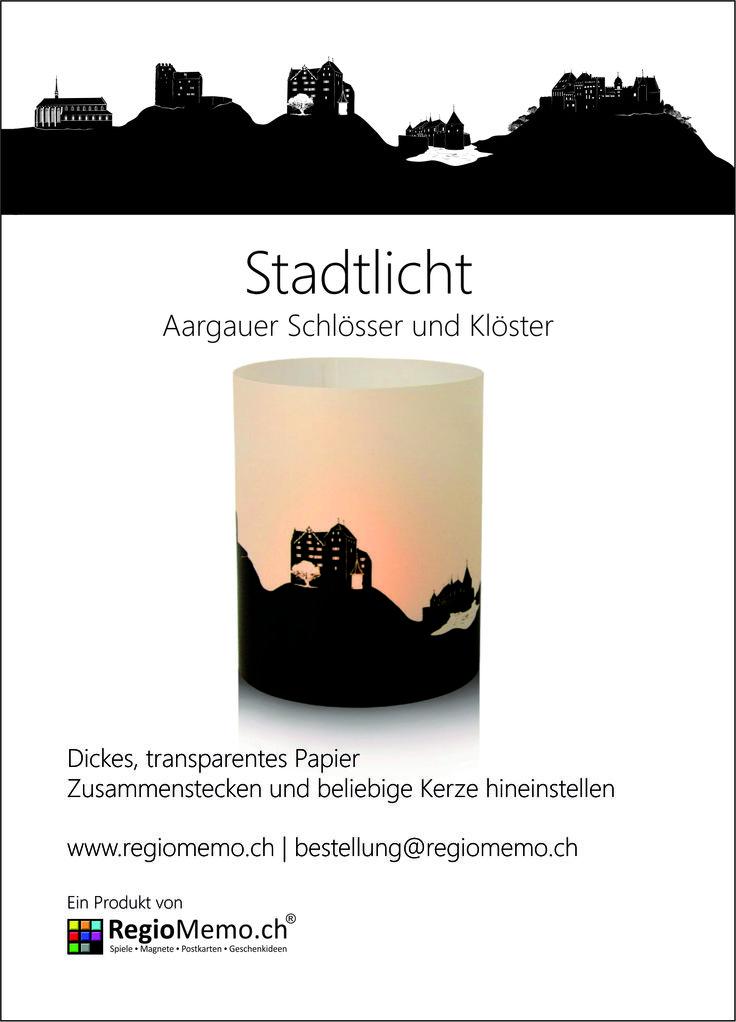 Stadtlicht Aargau   Schlösser und Klöster  Dickes, transparentes Papier Zusammenstecken und beliebige Kerze hineinstellen Durchmesser 9 cm / Höhe 10 cm