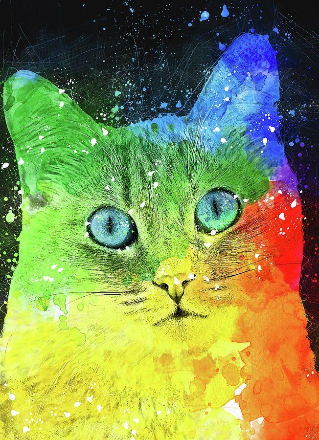 Abstract Bright Cat Digital Art by Oksana Ariskina #OksanaAriskina   #HomeDecor #FineArtPrint #BuyArtOnline #PrintsForSale #Cat #Illustration #Paint #Abstract #Watercolor #Popart #Pinup