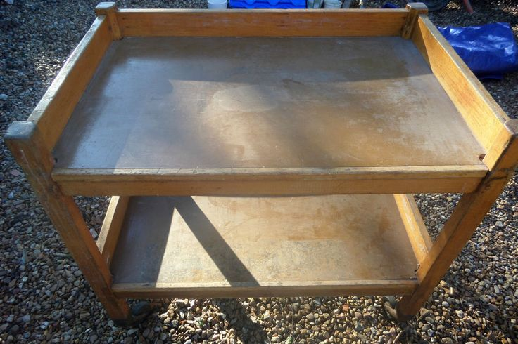 LARGE VINTAGE SCHOOL DINNER SERVING TROLLEY LOOK GREAT SHABBY CHIC