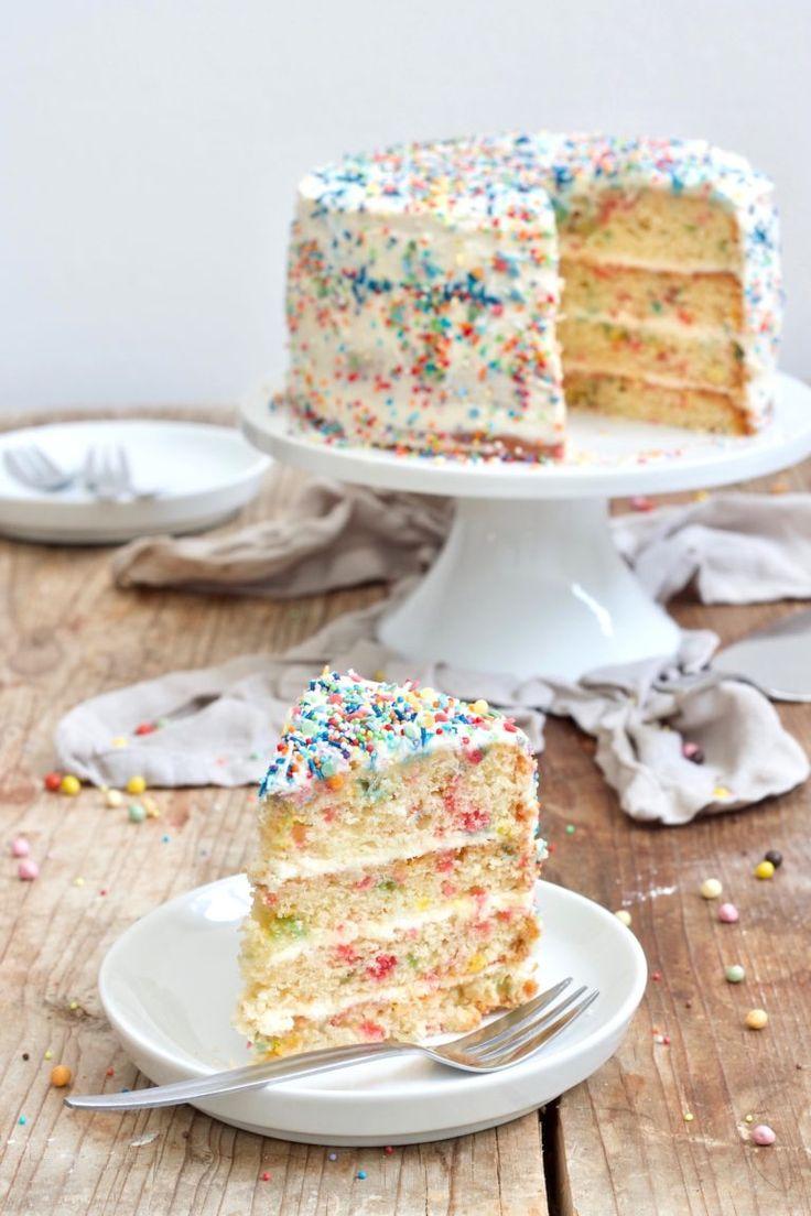 Rezept für Konfetti-Torte – bunte Konfetti-Torte für Karneval und Kinder   – Kochen