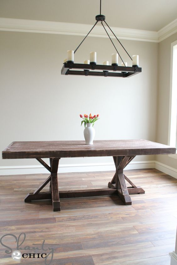 free printable plans for making this gorgeous Restoration Hardware inspired dining table @Shanty-2-Chic.com