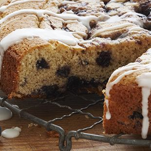 Blueberry Sour Cream Coffeecake: The secret to this Blueberry Sour Cream Coffeecake is adding sour cream to the Duncan Hines Simple Mornings Wild Maine Blueberry Muffin Mix, and topping it with Duncan Hines Vanilla Amazing Glazes. It makes the coffee cake moist, lusciously delicious and lightly sweet. It'll melt in your mouth, even if you serve it without coffee.