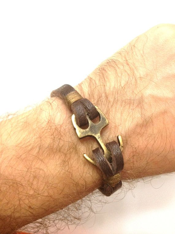 Brown Soft Leather Women Leather Bracelet with Anchor Clasp Men Leather Cuff…
