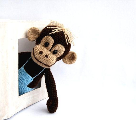 stuffed monkey amigurumi crocheted animal plushie toy от crochAndi, $44.43