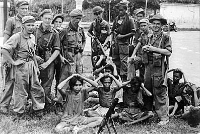 KNIL (Koninklijk Nederlands Indisch Leger), captured Indonesian resistance in Jogjakarta, 1949