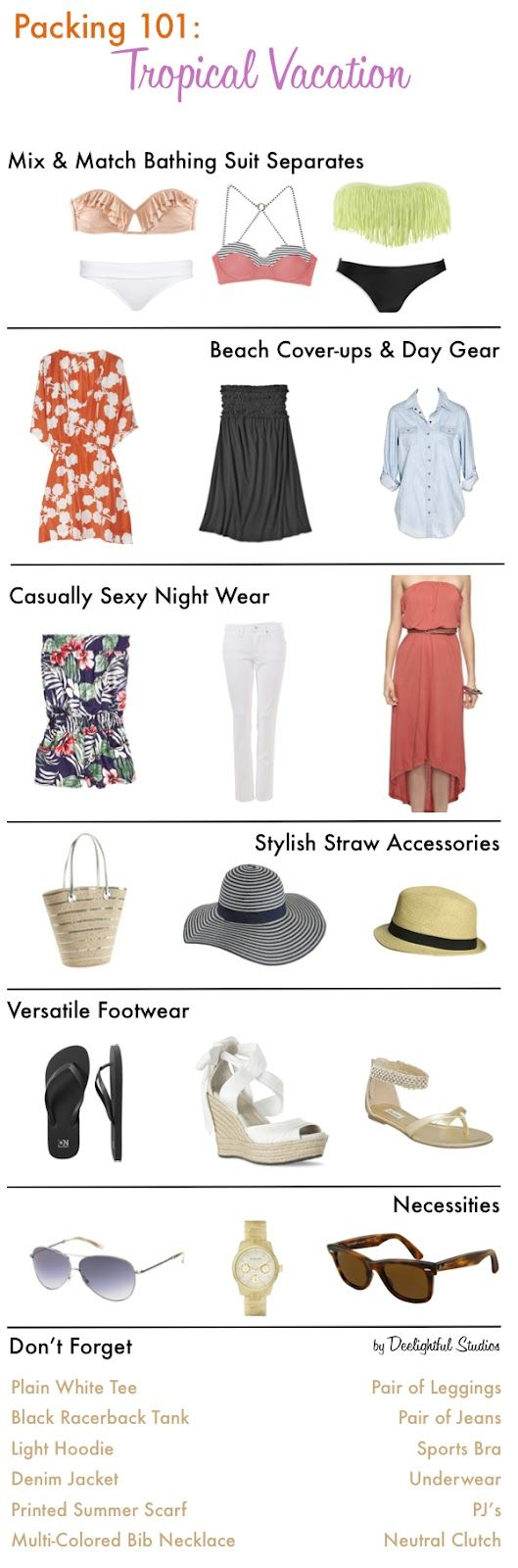 Packing for a tropical vacation. This is the perfect packing list. I also love including the hats, it's the easiest way to practice Anti-Aging!