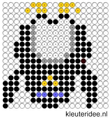 Kralenplank pinguin 2, kleuteridee.nl , thema Noordpool & Zuidpool  , free printable  Beads patterns preschool.
