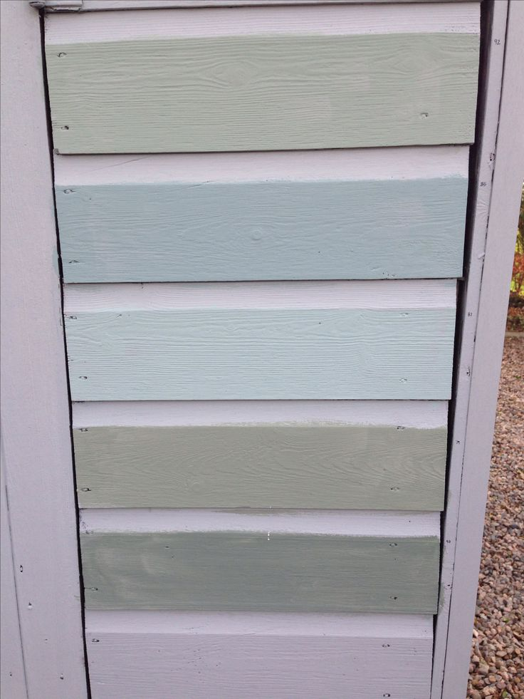 Paint colours for the shed . From Top. Farrow and Ball Castle Grey 92, Oval Room Blue 85 , 82 Dix Blue , Card Room Green 79, Green Smoke 47.