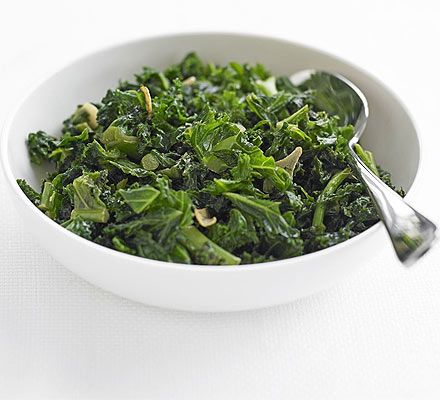 Stir fried kale with garlic and soy sauce.