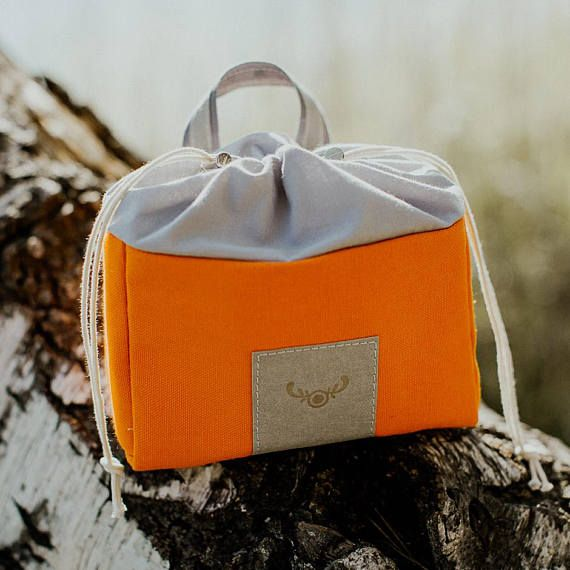 Cotton make up bag / orange cosmetic bag / small pouch / vegan