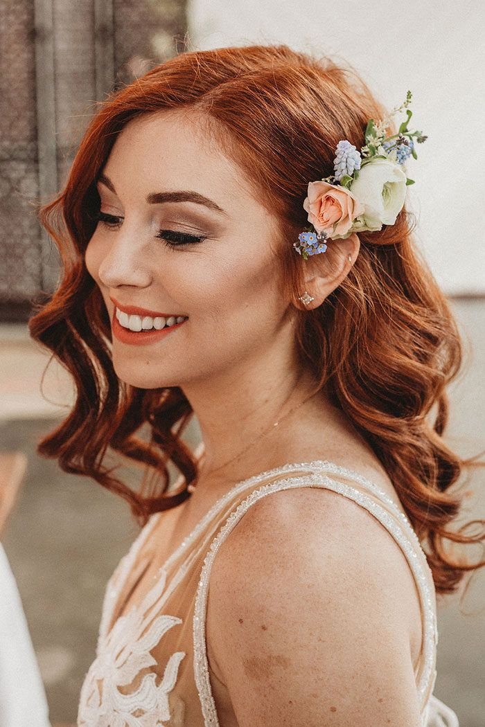 Dusty Blue and Blush Romance Bridal hair and makeup