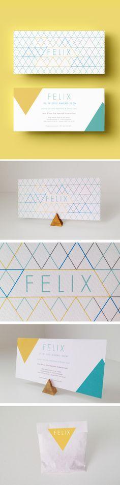 Ontwerp geboortekaartje Felix #geboorte #geboortekaartje #geel #driehoek #design #felix #pattern #patroon #MOSstudio #jongen