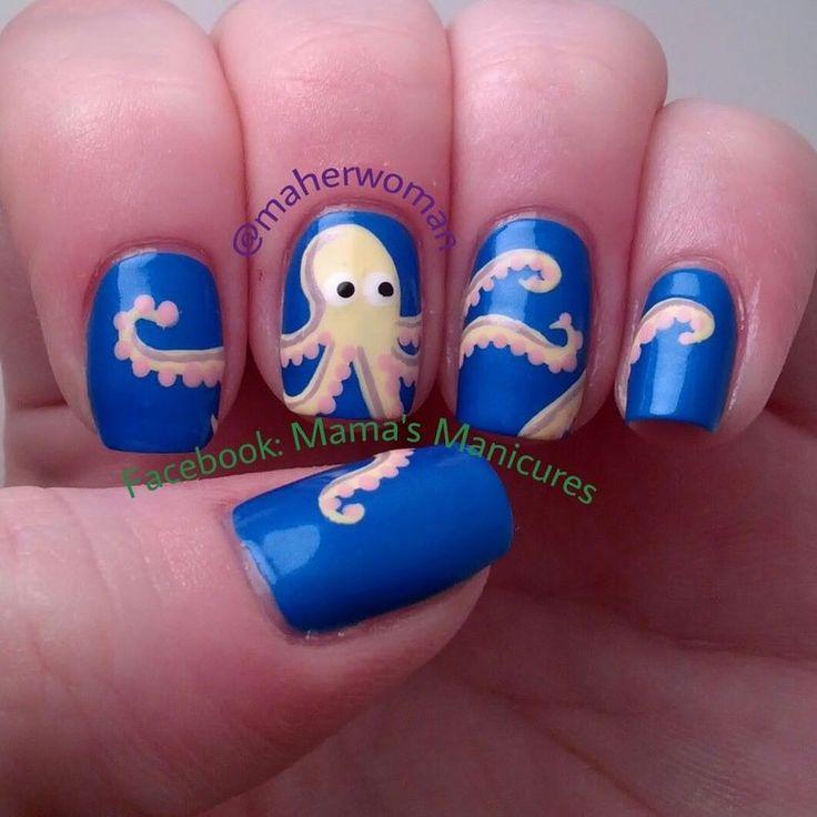 Octopus nails nail art by Mama's Manicures (maherwoman)