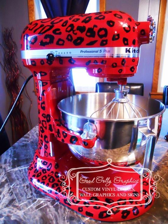 Kitchen mixer vinyl decal LEOPARD PRINT decal. Love! Shut up!!!