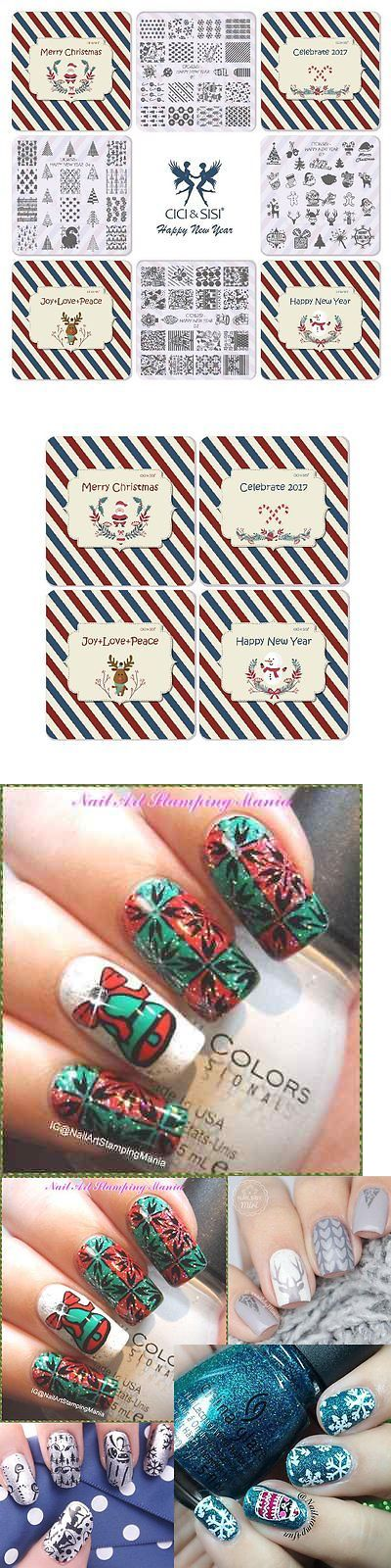 Nail Art Accessories: Ciciandsisi Christmas Nail Art Stamping Plates Kit Stamp Plate Manicure Diy 4 New BUY IT NOW ONLY: $34.45