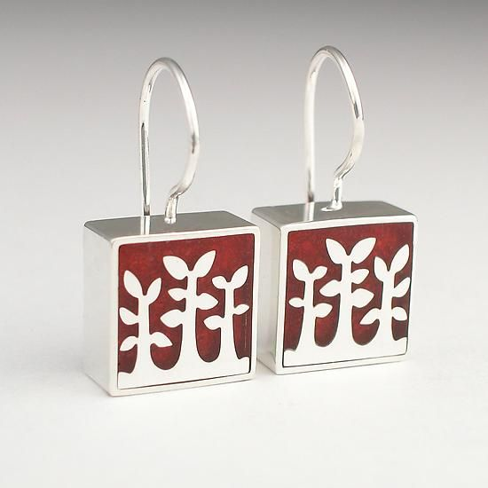 Jasper Trees by Victoria Varga. Sterling silver trees set in a lightweight composite of crushed jasper and resin. Polish with a standard jewelers cloth.
