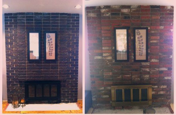 Brass Fireplace Makeover Spraypainting Before And After Fireplace Update Side By Side Red Brick Updated To A Dark Coal Using Tinted Concrete Stain And Brass Brass Fireplace Makeover Fireplace