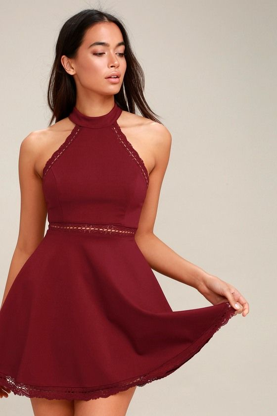 Reach Out My Hand Burgundy Lace Skater Dress in 2019  fb291c96c5