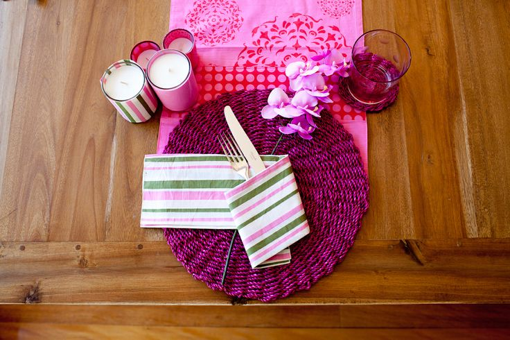 Pink Mix N Match table setting, beautiful 100 % cotton runner, napkins with candle votive with candle covers, rope placemat and coaster.  Avail as a four place setting at table tops in a box.