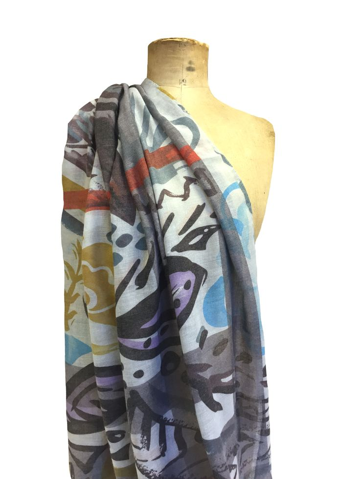 Picasso print Hem&Edge scarf #grey #multi #rust 100% viscose 80x180cm #glamorousgreys #scarf #accessories #onebutton #hemandedge Click to buy from the One Button shop.